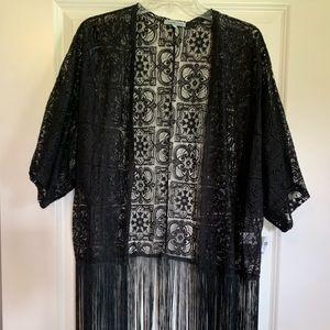Black kimono or swim suit cover up